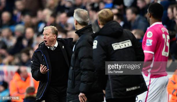 Newcastle manager Steve McClaren reacts during the Barclays Premier League match between Newcastle United at AFC Bournemouth at St James' Park on...