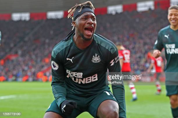 Newcastle midfielder Allan SaintMaximin celebrates his goal during the Premier League match between Southampton and Newcastle United at St Mary's...