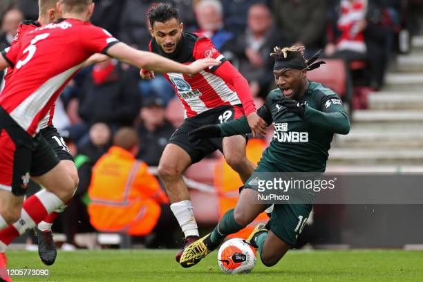 Newcastle midfielder Allan SaintMaximin is fouled by Southampton midfielder Sofiane Boufal during the Premier League match between Southampton and...