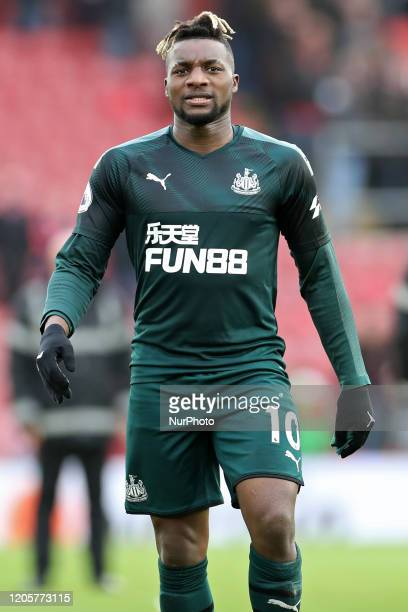 Newcastle midfielder Allan SaintMaximin scorer of the winning goal during the Premier League match between Southampton and Newcastle United at St...