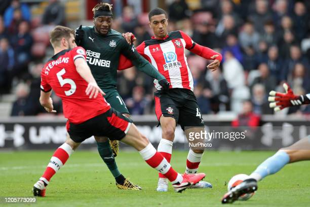 Newcastle midfielder Allan SaintMaximin shoots and scores during the Premier League match between Southampton and Newcastle United at St Mary's...