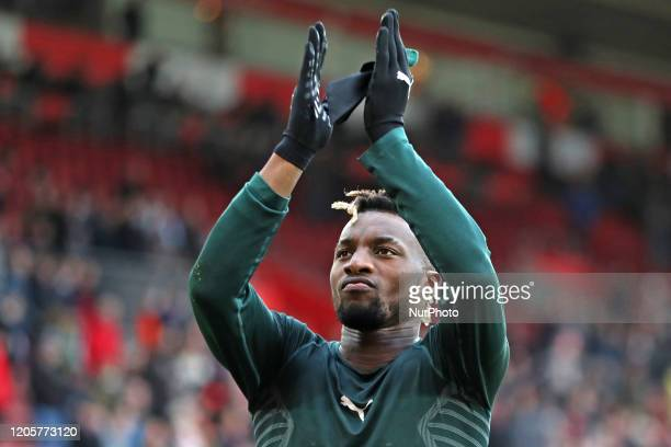 Newcastle midfielder Allan SaintMaximin thanks his fans during the Premier League match between Southampton and Newcastle United at St Mary's Stadium...