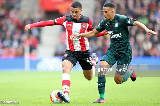 Newcastle midfielder Isaac Hayden battles with Southampton defender Yan Valery during the Premier League match between Southampton and Newcastle...