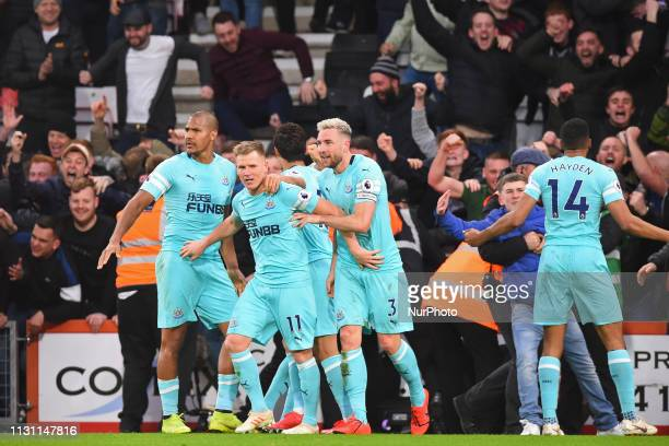 Newcastle midfielder Matt Ritchie celebrates a last minute equaliser during the Premier League match between Bournemouth and Newcastle United at the...