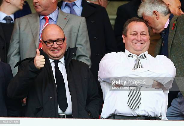 Newcastle owner Mike Ashley and Managing Director Lee Charnley are seen on the stand prior to the Barclays Premier League match between Sunderland...