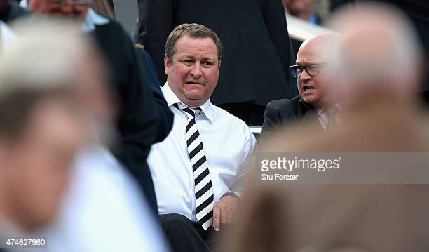 Newcastle owner Mike Ashley looks on before the Barclays Premier League match between Newcastle United and West Ham United at St James' Park on May...