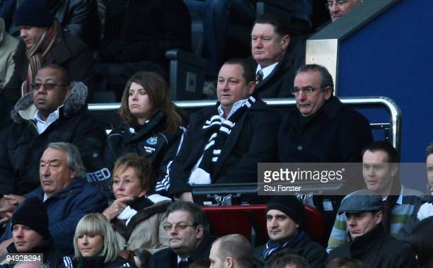 Newcastle owner Mike Ashley looks on from the directors box during the CocaCola Championship match between Newcastle United and Middlesbrough at St...