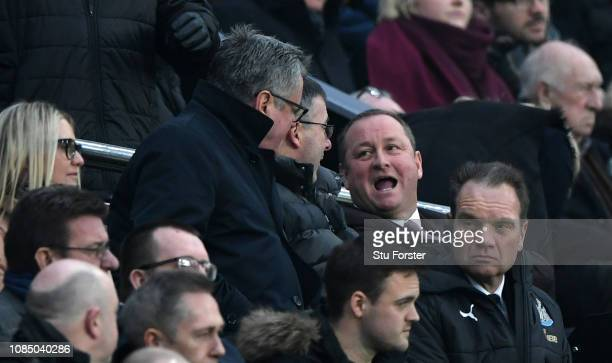 Newcastle owner Mike Ashley reacts during the Premier League match between Newcastle United and Cardiff City at St James Park on January 19 2019 in...