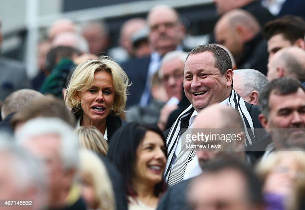 Newcastle owner Mike Ashley smiles during the Barclays Premier League match between Newcastle United and Arsenal at St James' Park on March 21 2015...