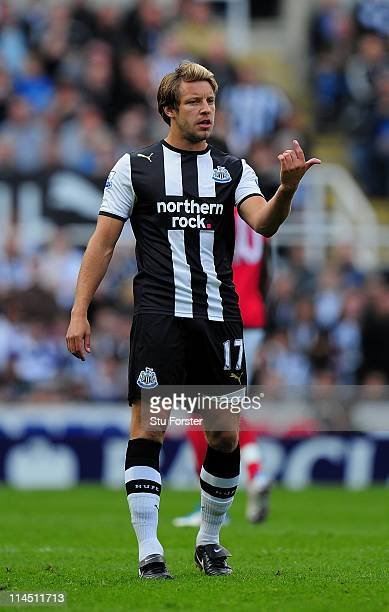 Newcastle player Alan Smith in action during the Barclays Premier League game between Newcastle United and West Bromwich Albion at St James' Park on...