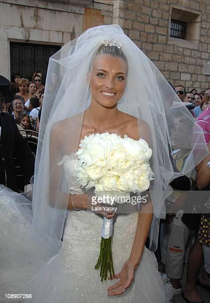 Newcastle Player Albert Luque and Model Marta Luna Wedding at Binissalim Church on July 6 2007 in Mallorca Spain