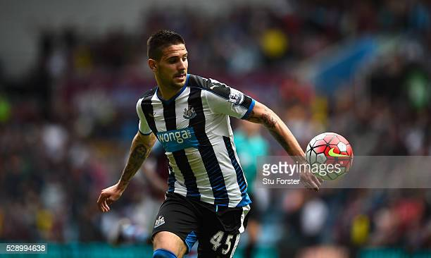Newcastle player Aleksander Mitrovic in action during the Barclays Premier League match between Aston Villa and Newcastle United at Villa Park on May...