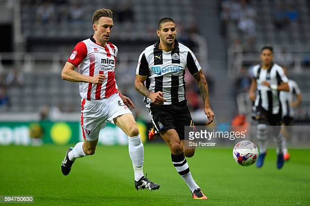 Newcastle player Aleksander Mitrovic in action during the EFL Cup Round Two match between Newcastle United and Cheltenham Town at St James Park on...