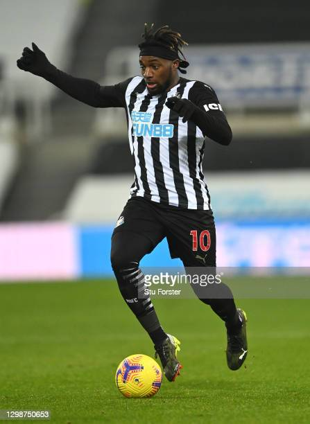 Newcastle player Allan Saint-Maximin in action during the Premier League match between Newcastle United and Leeds United at St. James Park on January...