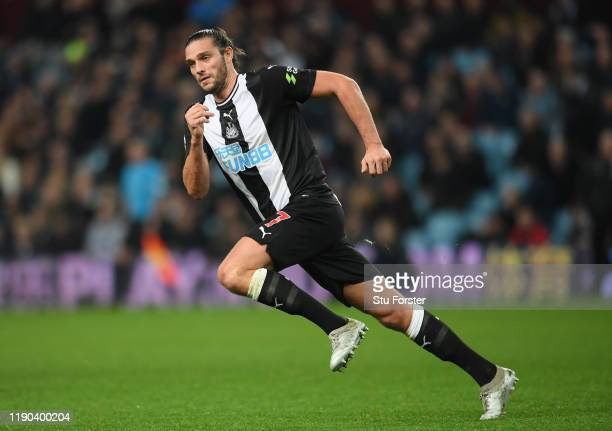 Newcastle player Andy Carroll in action during the Premier League match between Aston Villa and Newcastle United at Villa Park on November 25, 2019...