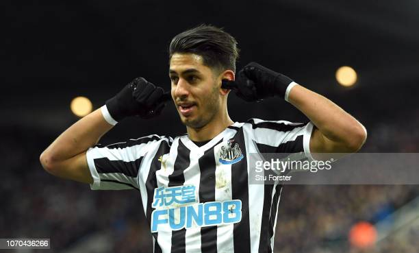Newcastle player Ayoze Perez celebrates by putting his fingers in his ears after scoring the first Newcastle goal during the Premier League match...