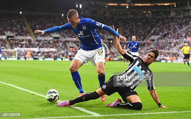 Newcastle player Ayoze Perez challenges Jamie Vardy during the Barclays Premier League match between Newcastle United and Leicester City at St James'...