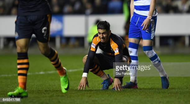Newcastle player Ayoze Perez reacts during the Sky Bet Championship match between Reading and Newcastle United at Madejski Stadium on March 7 2017 in...