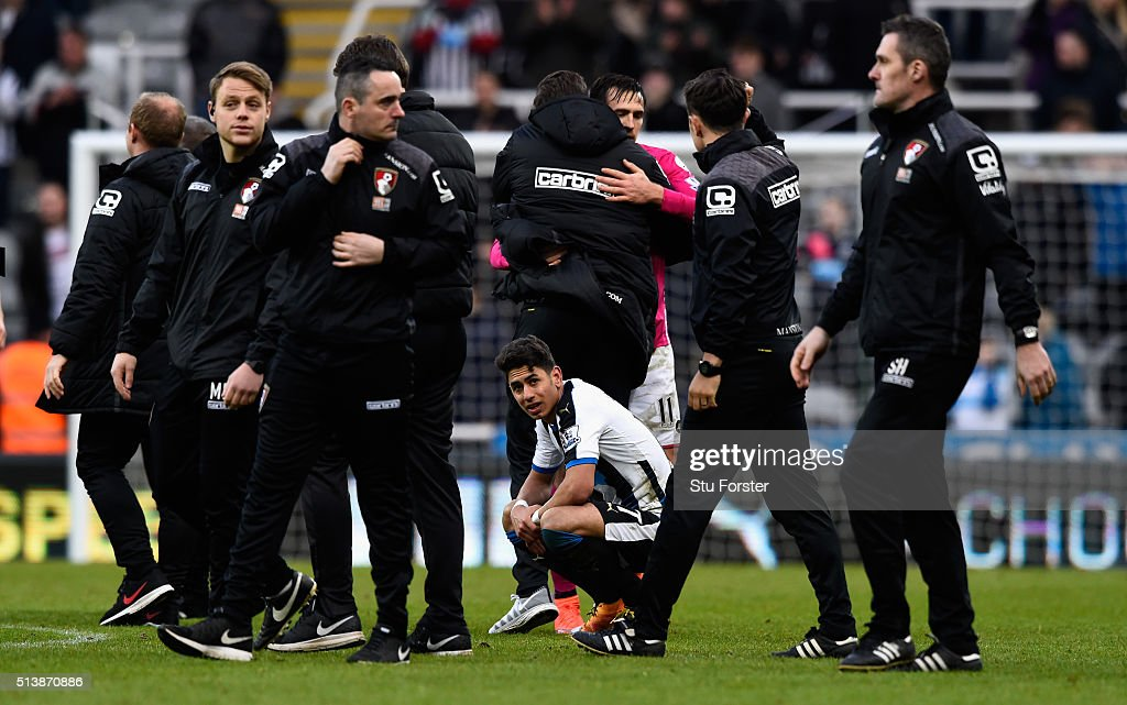 Newcastle player Ayoze Perez reacts on the final whistle after the Barclays Premier League match between Newcastle United at A.F.C. Bournemouth at St James' Park on March 5 in Newcastle upon Tyne, England.