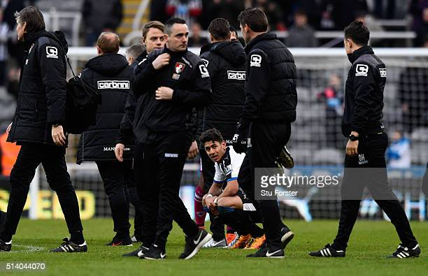 Newcastle player Ayoze Perez reacts on the final whistle after the Barclays Premier League match between Newcastle United at AFC Bournemouth at St...