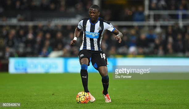 Newcastle player Chancel Mbemba in action during the Barclays Premier League match between Newcastle United and Everton at St James' Park on December...