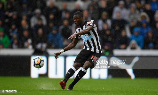 Newcastle player Chancel Mbemba in action during the Premier League match between Newcastle United and Stoke City at St James Park on September 16...