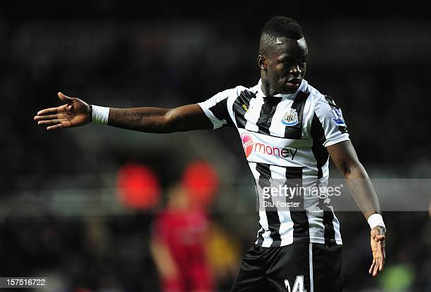 Newcastle player Cheick Tiote in action during the Barclays Premier League match between Newcastle United and Wigan Athletic at St James' Park on...