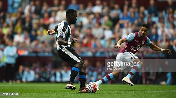 Newcastle player Cheick Tiote in action during the Barclays Premier League match between Aston Villa and Newcastle United at Villa Park on May 7 2016...