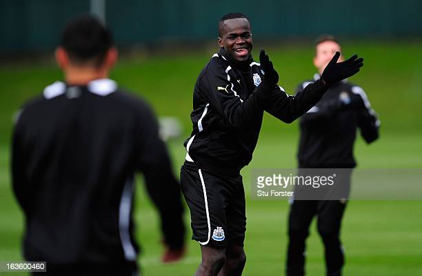 Newcastle player Cheick Tiote leads the warm up dance routine during Newcastle United training at The Little Benton training ground on March 13 2013...
