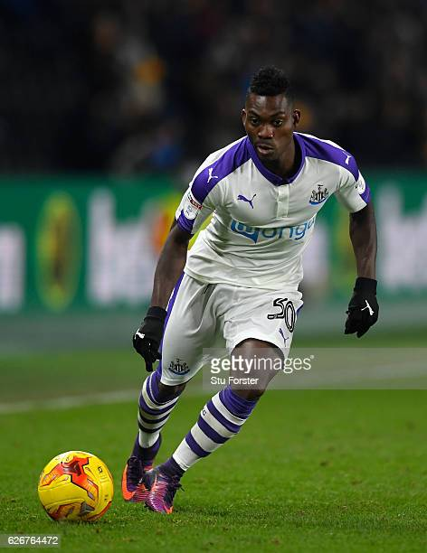 Newcastle player Christian Atsu in action during the EFL Cup QuarterFinal match between Hull City and Newcastle United at KCOM Stadium on November 29...