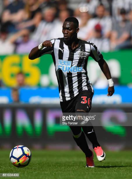 Newcastle player Christian Atsu in action during the Premier League match between Newcastle United and Tottenham Hotspur at St James Park on August...