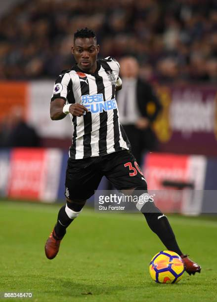 Newcastle player Christian Atsu in action during the Premier League match between Burnley and Newcastle United at Turf Moor on October 30 2017 in...