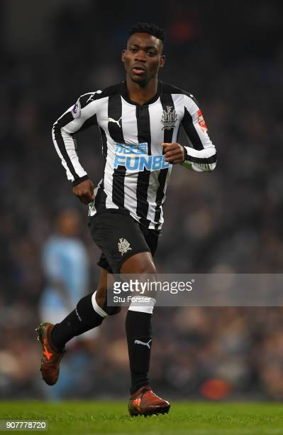 Newcastle player Christian Atsu in action during the Premier League match between Manchester City and Newcastle United at Etihad Stadium on January...