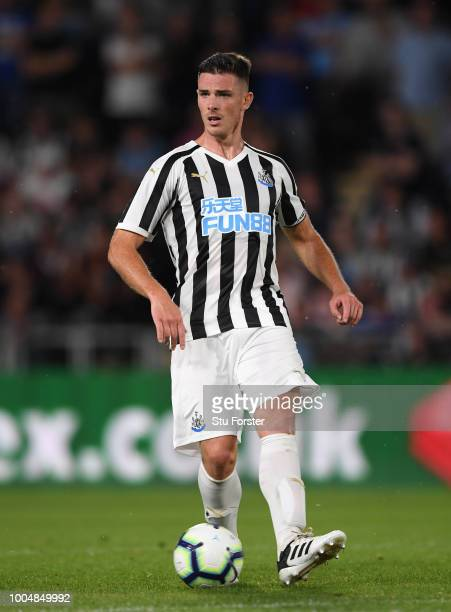 Newcastle player Ciaran Clark in action during a preseason friendly match between Hull City and Newcastle United at KCOM Stadium on July 24 2018 in...