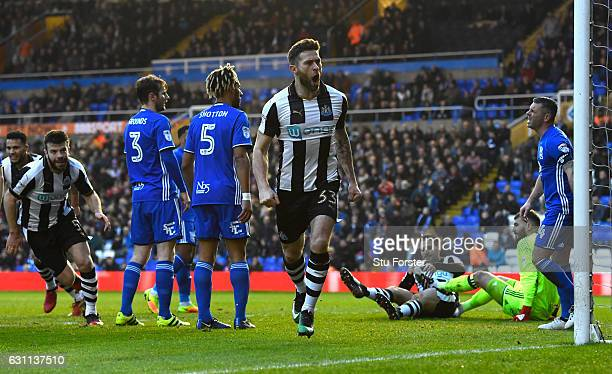 Newcastle player Daryl Murphy celebrates after scoring the opening goal during The Emirates FA Cup Third Round match between Birmingham City and...