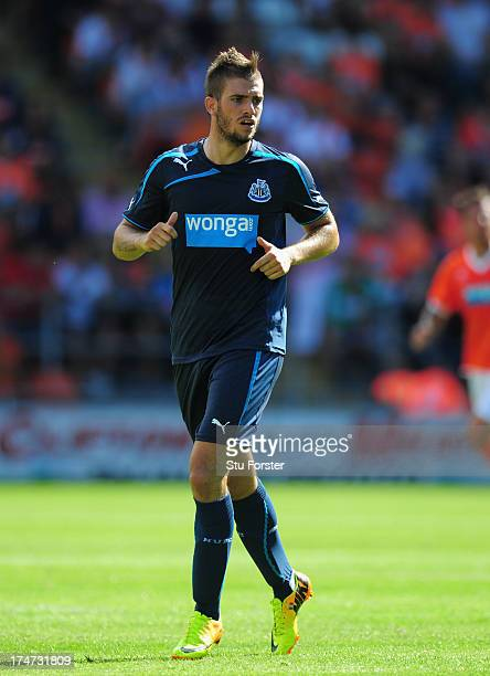 Newcastle player Davide Santon in action during the pre season friendly match between Blackpool and Newcastle United at Bloomfield Road on July 28...