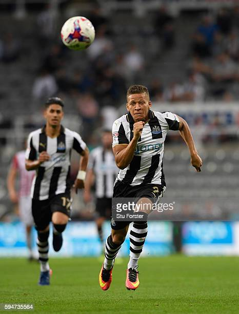 Newcastle player Dwight Gayle in action during the EFL Cup Round Two match between Newcastle United and Cheltenham Town at St James Park on August 23...