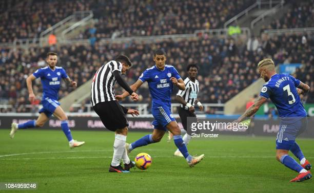 Newcastle player Fabian Schar shoots to score the first goal during the Premier League match between Newcastle United and Cardiff City at St James...