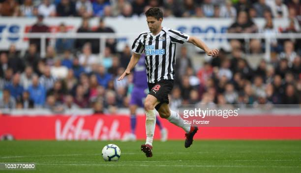 Newcastle player Federico Fernandez in action during the Premier League match between Newcastle United and Arsenal FC at St James Park on September...