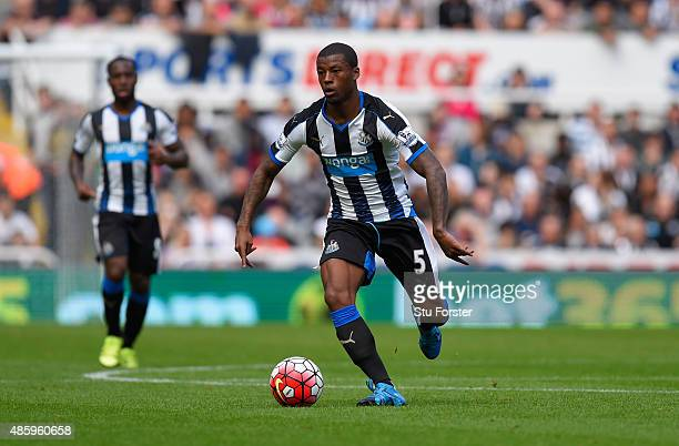 Newcastle player Georginio Wijnaldum in action during the Barclays Premier League match between Newcastle United and Arsenal on August 29 2015 in...