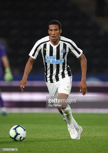 Newcastle player Isaac Hayden in action during a preseason friendly match between Hull City and Newcastle United at KCOM Stadium on July 24 2018 in...