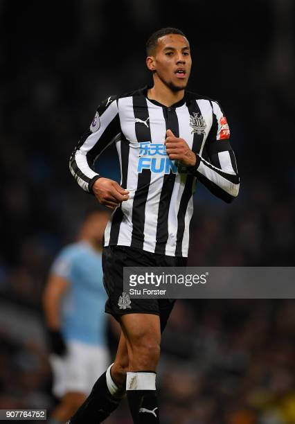 Newcastle player Isaac Hayden in action during the Premier League match between Manchester City and Newcastle United at Etihad Stadium on January 20...