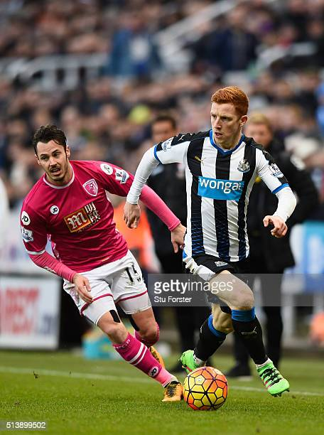Newcastle player Jack Colback breaks past Adam Smith during the Barclays Premier League match between Newcastle United at AFC Bournemouth at St...