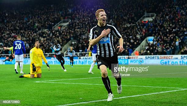 Newcastle player Jack Colback celebrates his goal during the Barclays Premier League match between Newcastle United and Everton at St James' Park on...