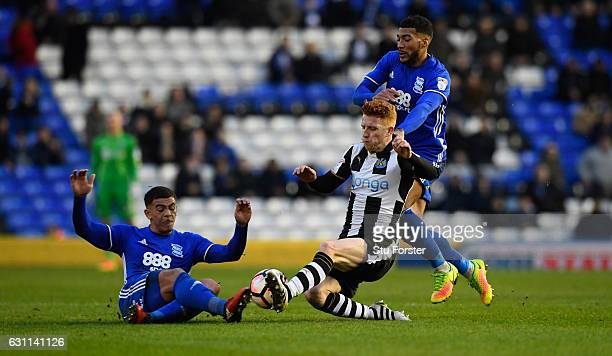 Newcastle player Jack Colback challenges Che Adams of Birmingham during The Emirates FA Cup Third Round match between Birmingham City and Newcastle...