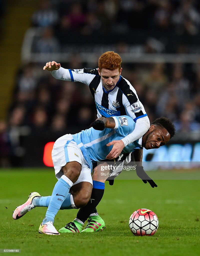 Newcastle player Jack Colback challenges Raheem Sterling of Manchester City during the Barclays Premier League match between Newcastle United and Manchester City at St James' Park on April 19, 2016 in Newcastle Upon Tyne, England