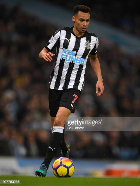 Newcastle player Jacob Murphy in action during the Premier League match between Manchester City and Newcastle United at Etihad Stadium on January 20...