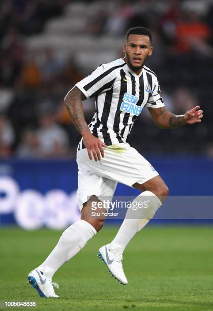 Newcastle player Jamaal Lascelles in action during a preseason friendly match between Hull City and Newcastle United at KCOM Stadium on July 24 2018...