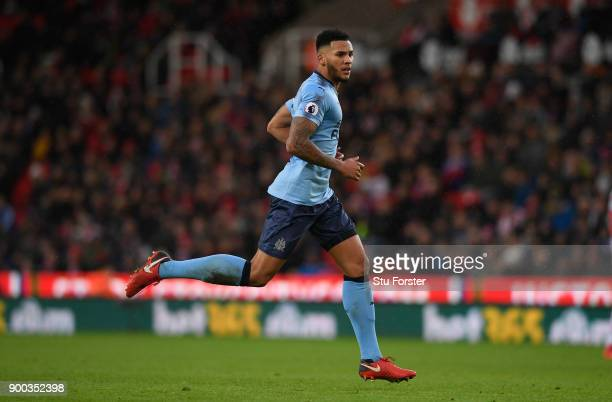 Newcastle player Jamaal Lascelles in action during the Premier League match between Stoke City and Newcastle United at Bet365 Stadium on January 1...