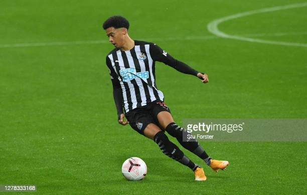 Newcastle player Jamal Lewis in action during the Premier League match between Newcastle United and Burnley at St. James Park on October 03, 2020 in...
